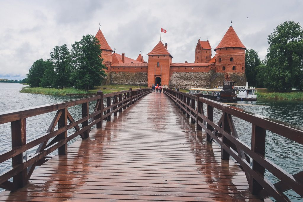 Trekiai Island Castle in Lithuania on rainy day