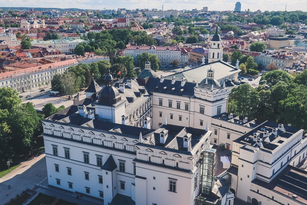 Palace of the Grand Dukes of Lithuania seen from above