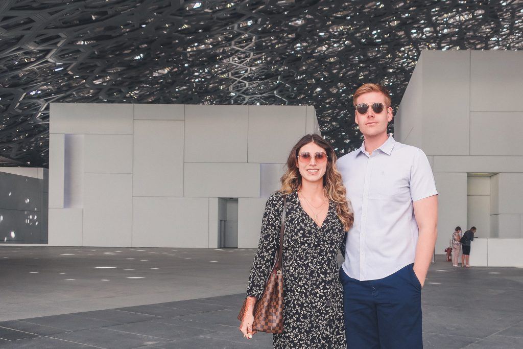 couple at Louvre Abu Dhabi, inside the museum