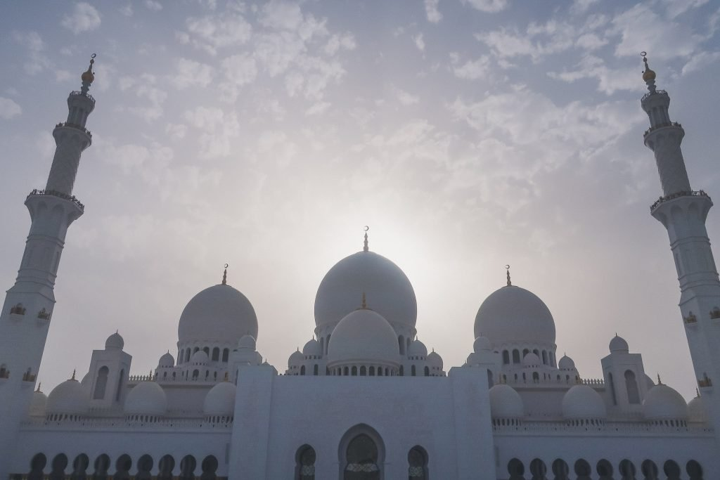 Sheikh Zayed Grand Mosque at sunset