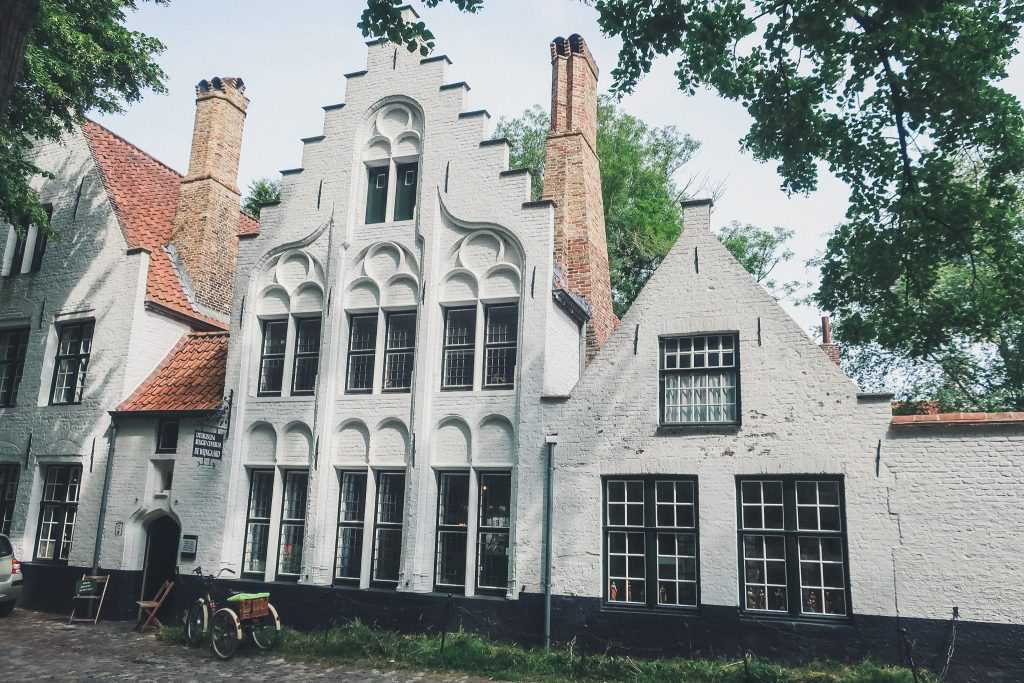 beguinage in Bruges, facades of beautiful white town-homes