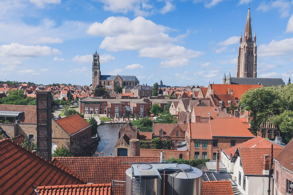 view from Half Moon Brewery rooftop in Bruges