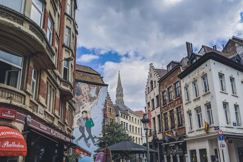 Comic Strip Mural in Brussels - two boys walk together