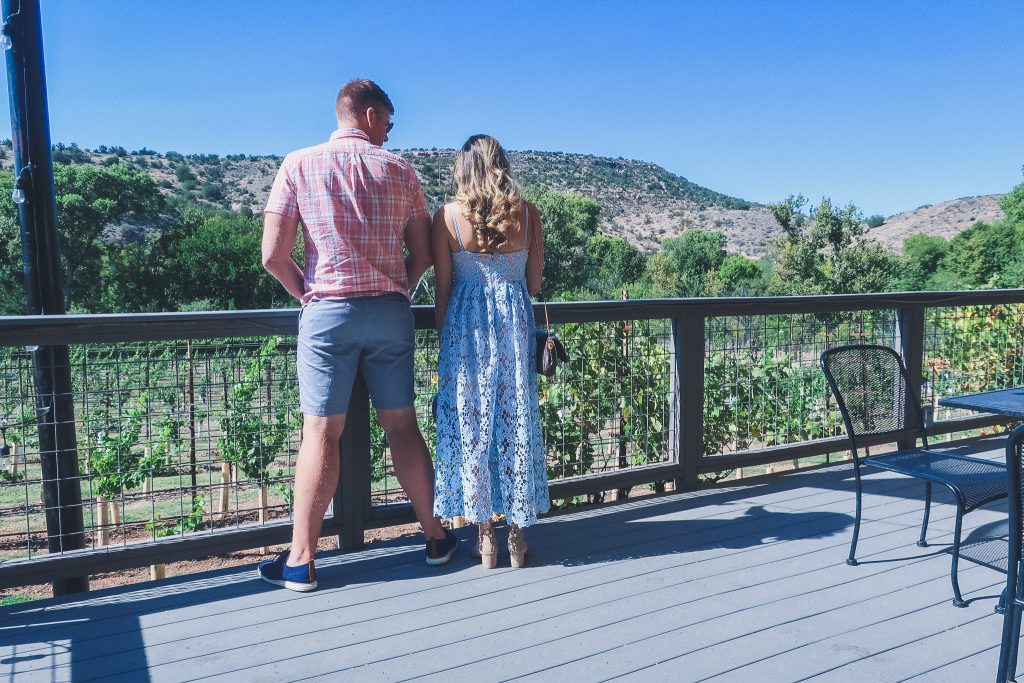 girl and boy stand and look at vineyards in sedona