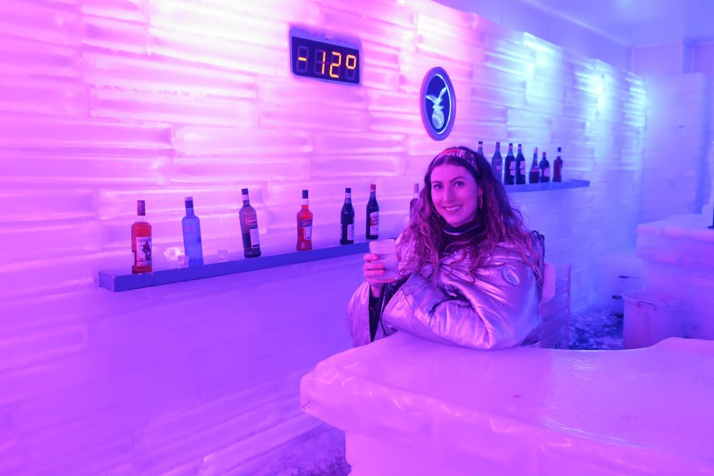 woman at ice bar in Patagonia
