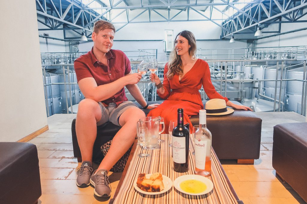 couple tastes wine at Melipal Winery