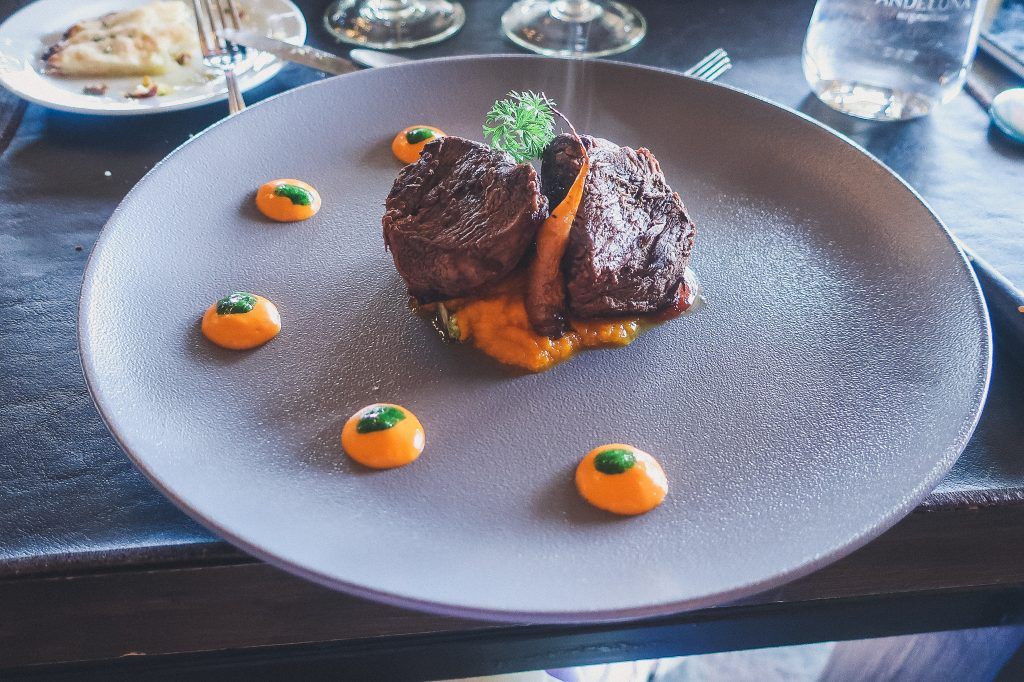 artful presentation of steak at Andeluna winery in Mendoza