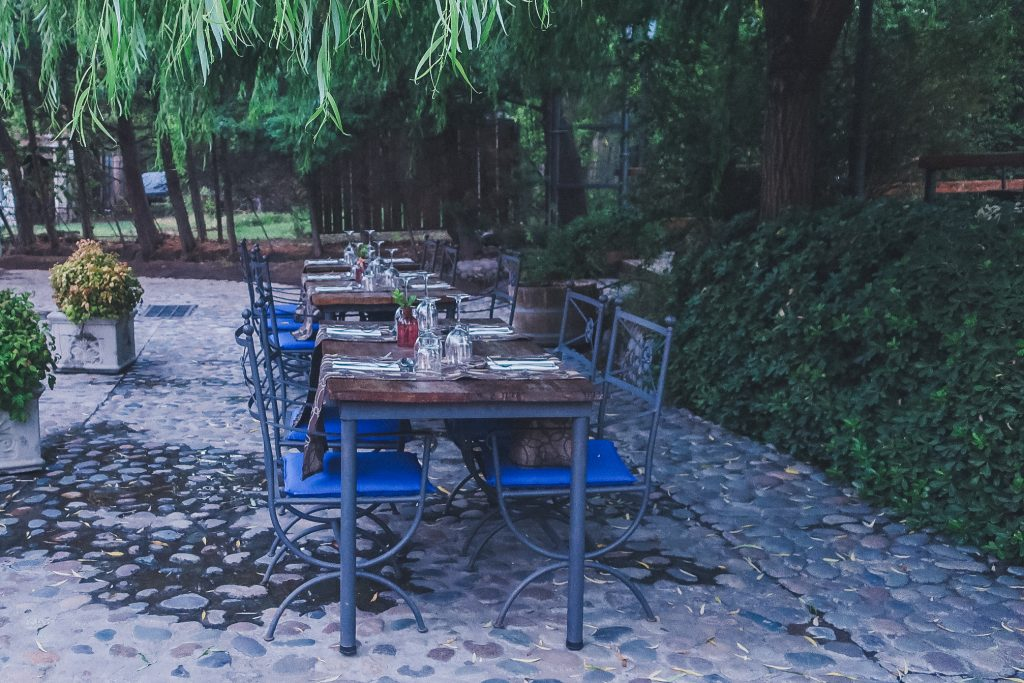Dining table at Clos de Charcra Winery, just before dusk