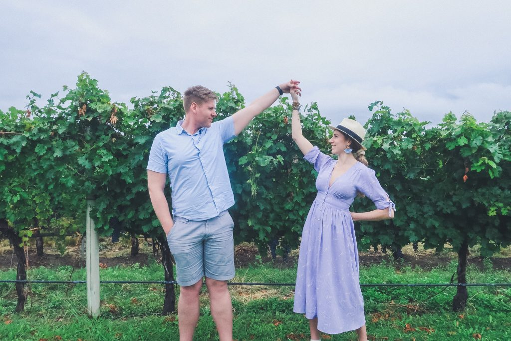 couple in Uco Valley vineyards