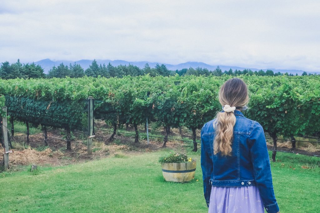 woman looks out on to Uco Valley vineyards at Andeluna Winery on a cloudy day