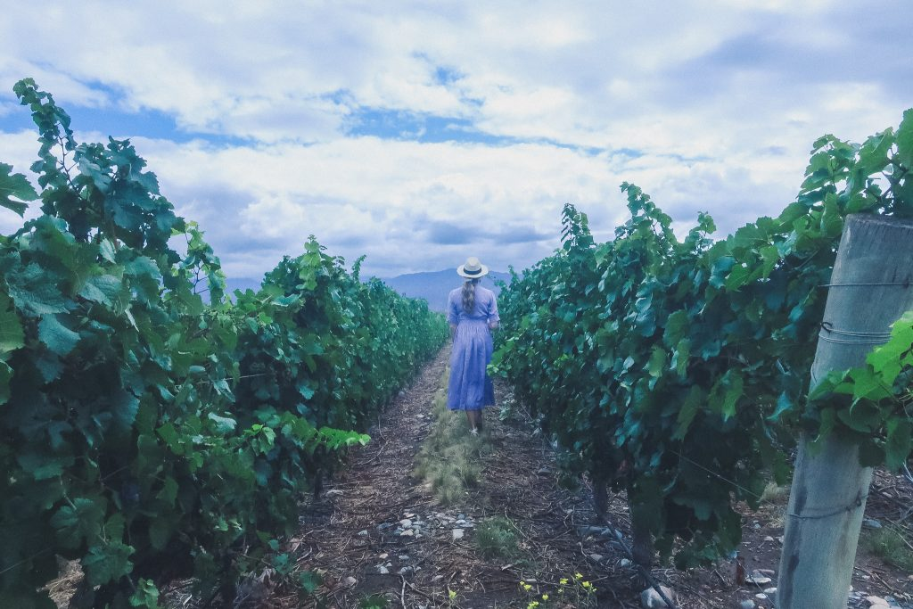 woman walks through vineyards in Uco Valley Argentina