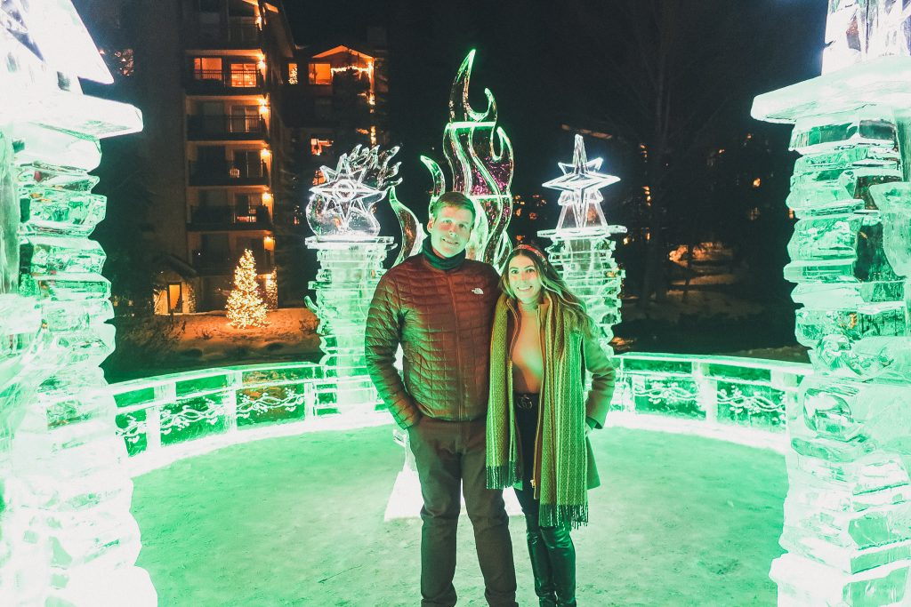 couple in Vail, CO in Ice castle