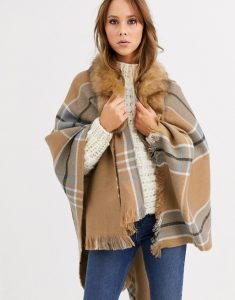 furry cape, women's, plaid, beige