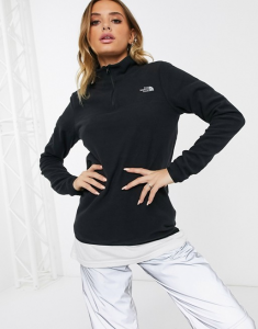 quarter zip sweater, women's, black