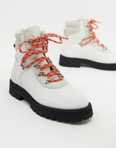 white women's hiking boots with bright orange laces