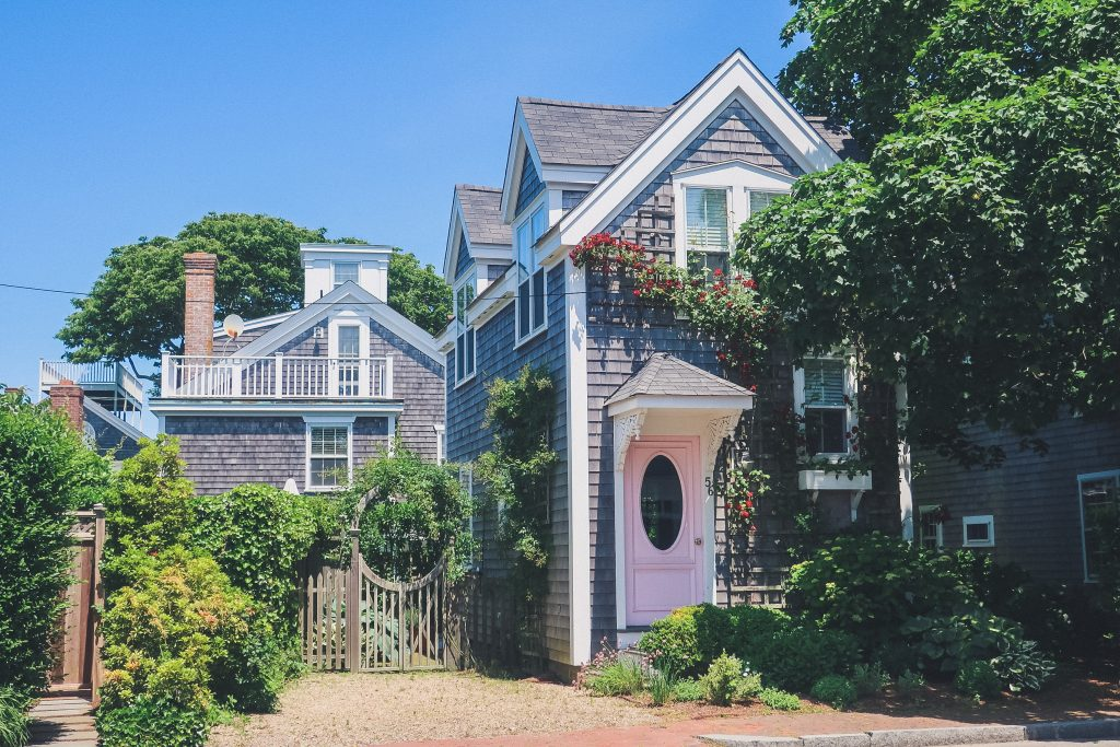 Nantucket home, classic, grey shingles, landscaped garden