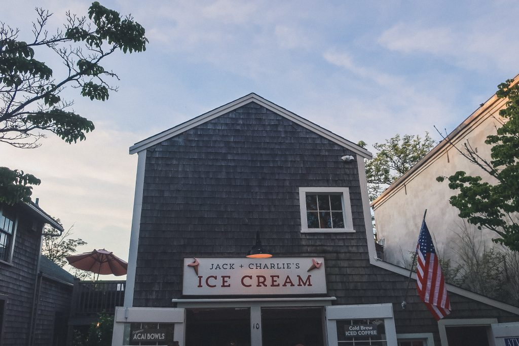 Jack & Charlie's Ice Cream in Nantucket at dusk