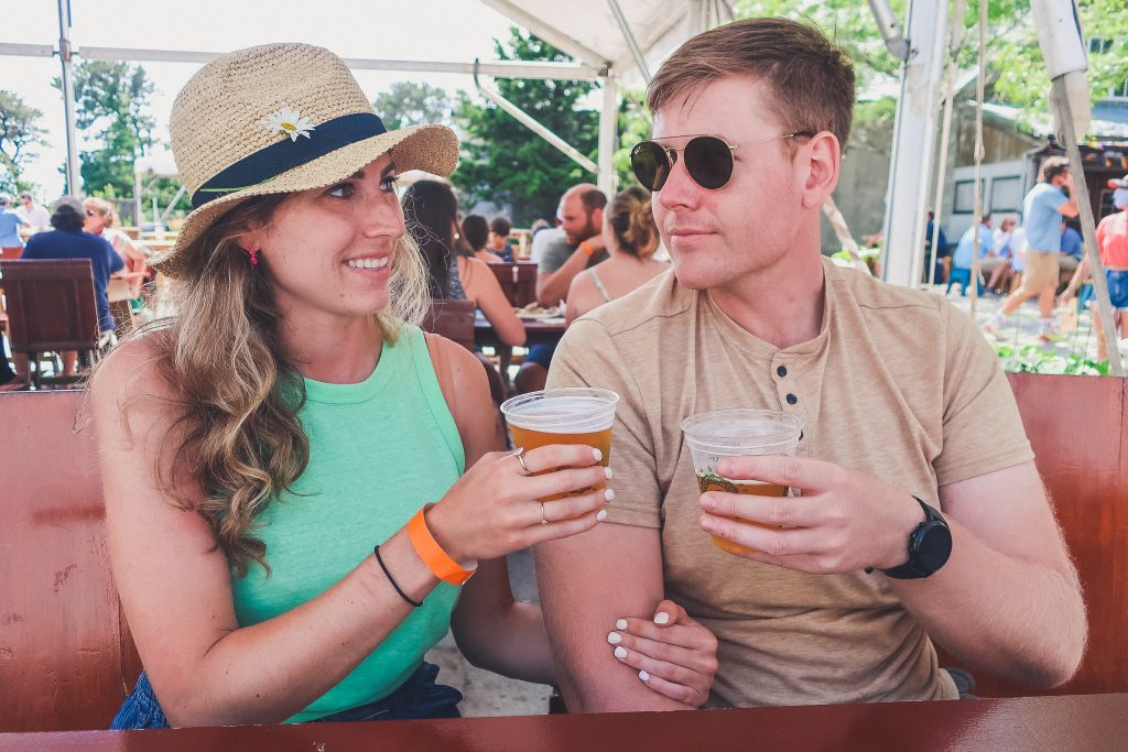 couple enjoys craft beer at Cisco Brewers Nantucket