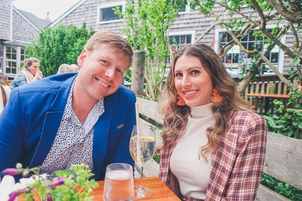 couple dines at Straight Wharf in Nantucket