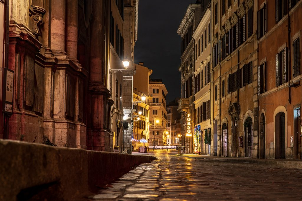Rome's city streets at night
