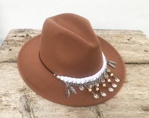 felt fedora with embellishments from Noam Boho