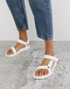 white hiking sandals (Teva)
