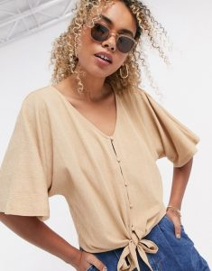 tie front top in beige