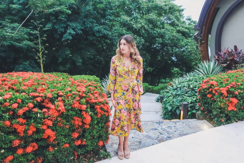 woman wearing floral dress in Costa Rica