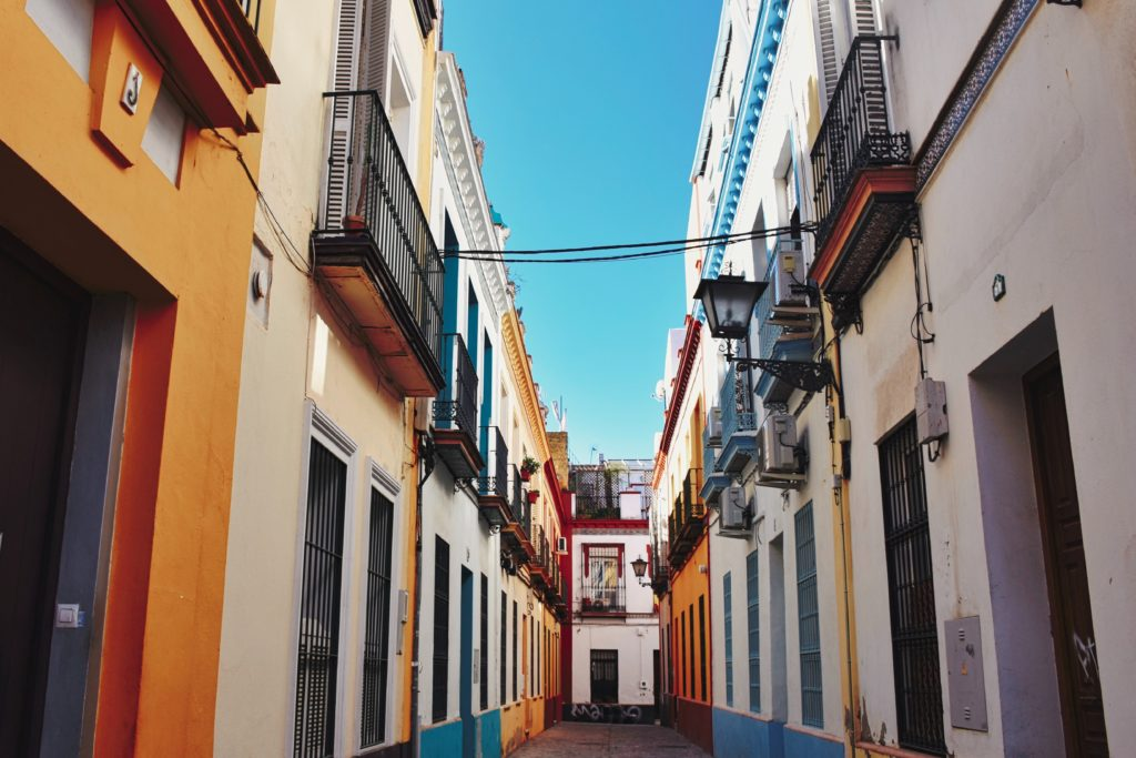 colorful street in Seville