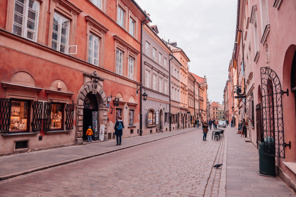 cute street in Warsaw Poland