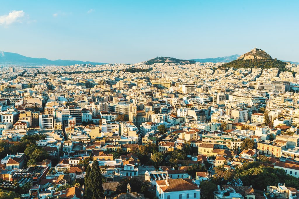 panorama of the city of Athens in Greece