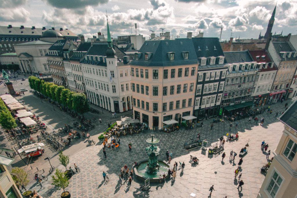 homes in Copenhagen on busy street