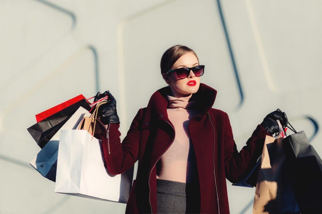woman shopping in europe