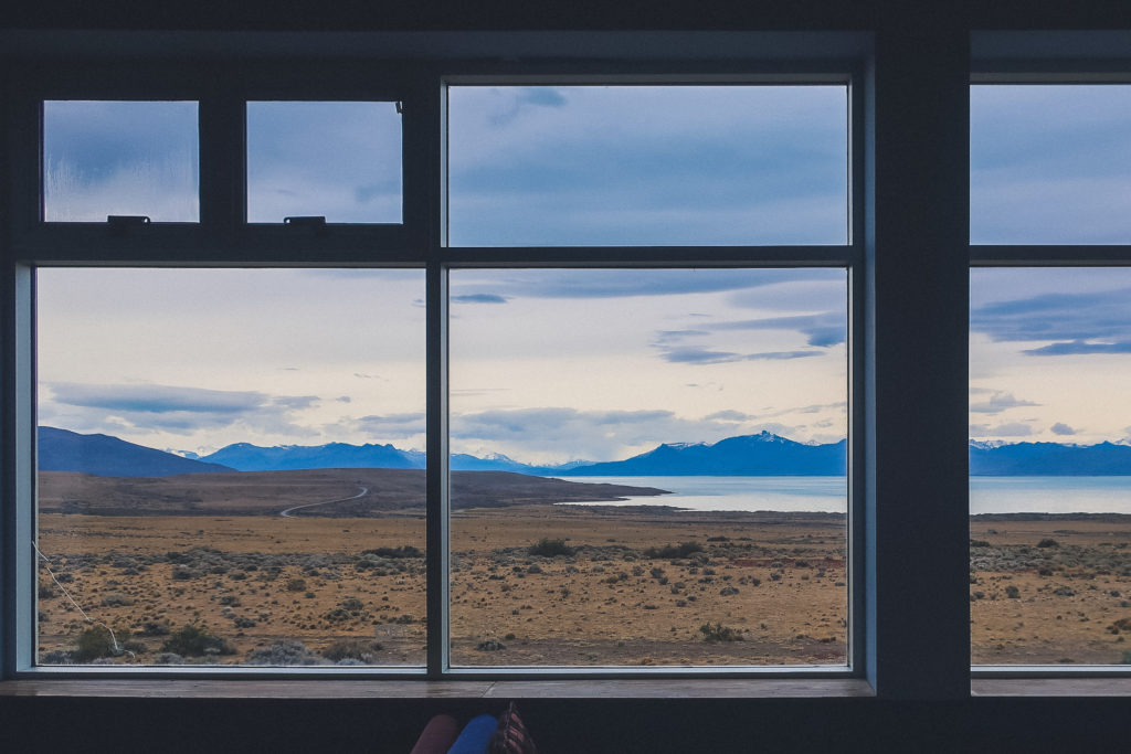 picture of Patagonia landscape through a window, El Calafate