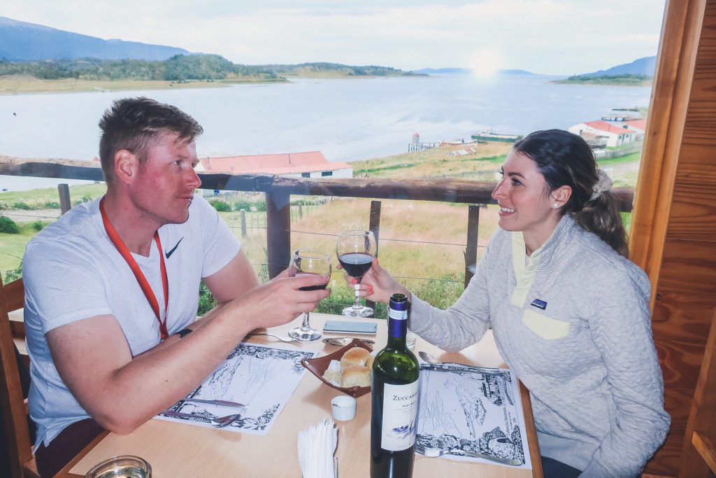 couple toasts with patagonia wine