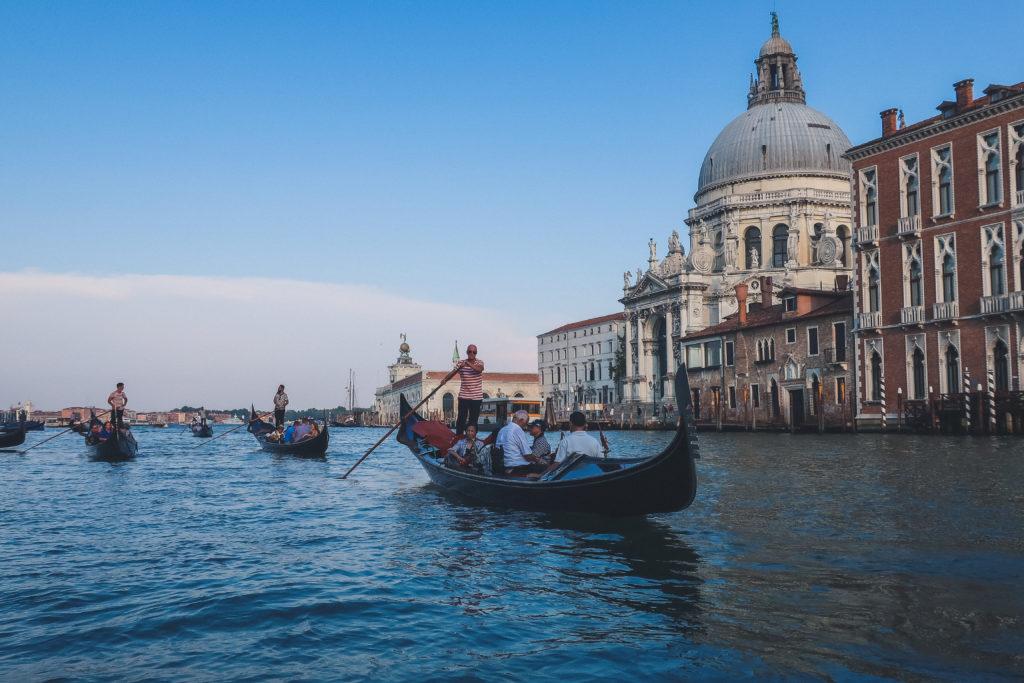 gondolas in Venice at dusk