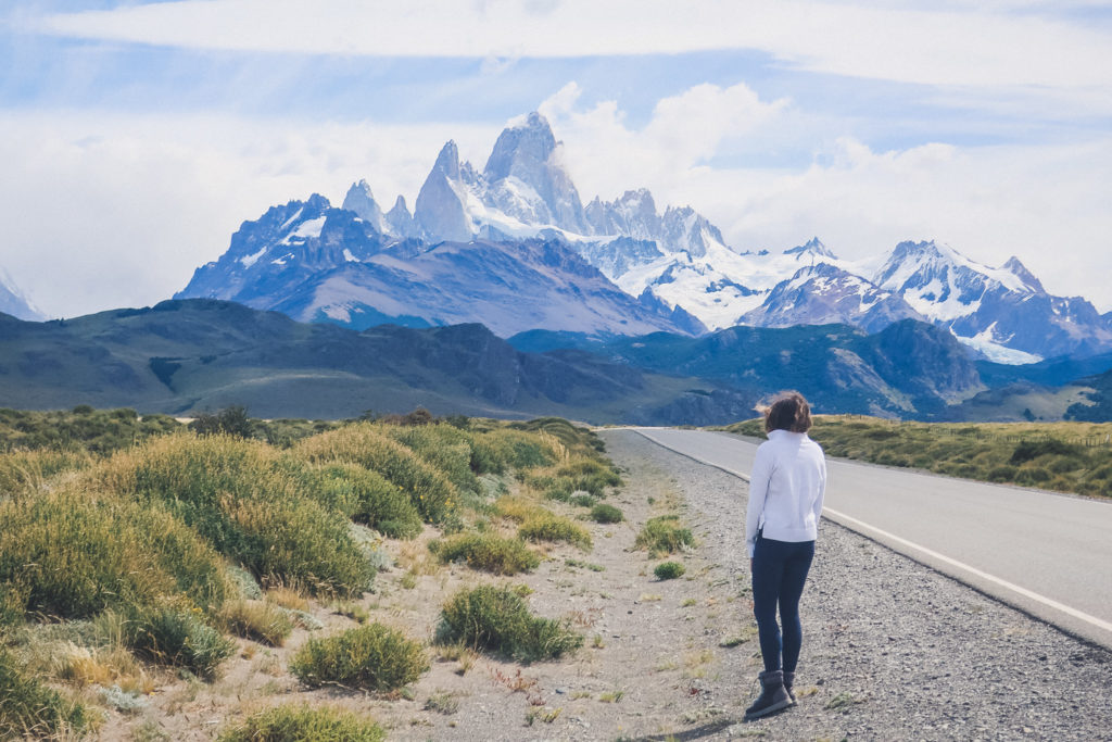 woman looks at Fitz Roy outside El Chalten