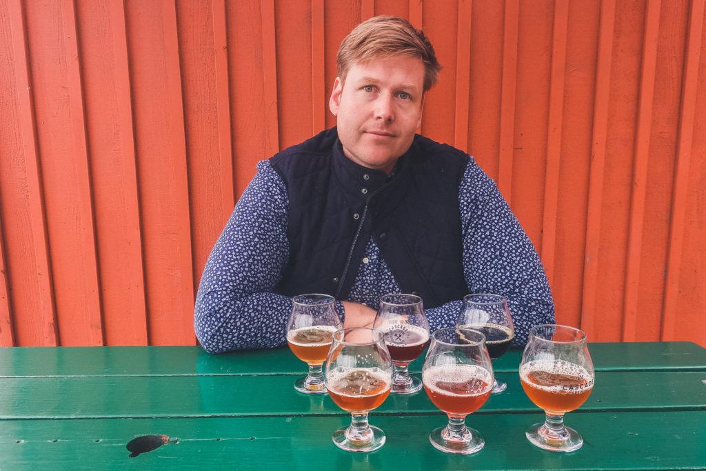man enjoys beer in Oregon